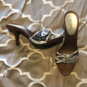 Guess Silver and blue wooden heels size 8